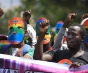 Kenyan LGBT supporters protest against Uganda's anti-gay bill
