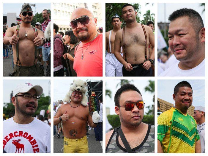 2014年10月台北でのプライドパレード「台北同士遊行」会場で撮影したアジアのベア系ゲイたち。(撮影:kit)