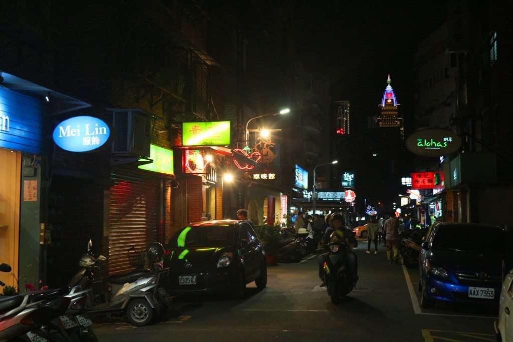 taipei east area street at night