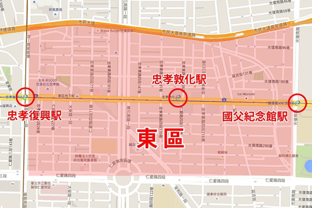 taipei east area map