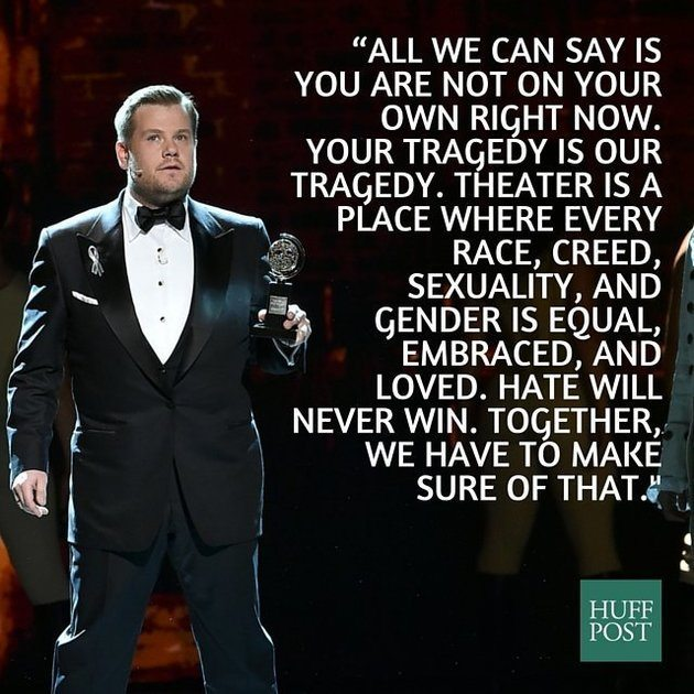画像引用元 http://www.huffingtonpost.com/entry/james-corden-opens-tonys-with-powerful-message-to-orlando-shooter_us_575dfa35e4b0ced23ca86c12?ir=Queer+Voices&section=us_queer-voices&utm_hp_ref=queer-voices&