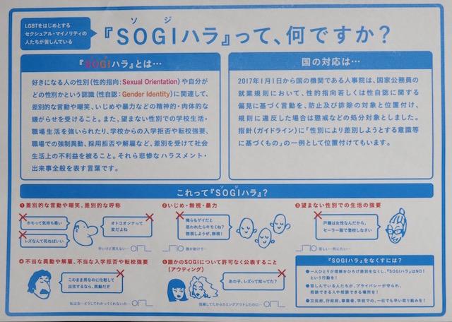 会場で配布された「SOGIハラ」に関する資料