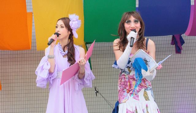 """(左)アロム奈美恵(右)エスムラルダ 東京レインボープライド2016""""FESTA""""より"""