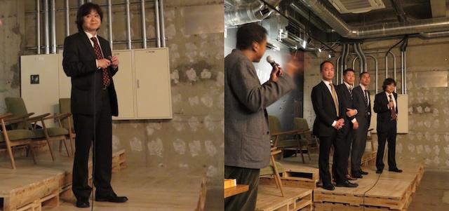 (左)福島宏之編集長(右)司会のローレン氏とOriijinのスタッフの皆さん
