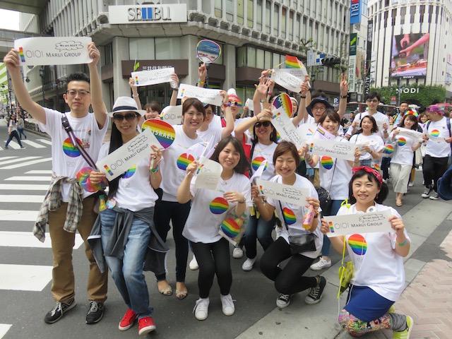 東京レインボープライド2017のスポンサーとして協賛された丸井グループの皆さんも大人数で参加されました。(撮影:いたる)
