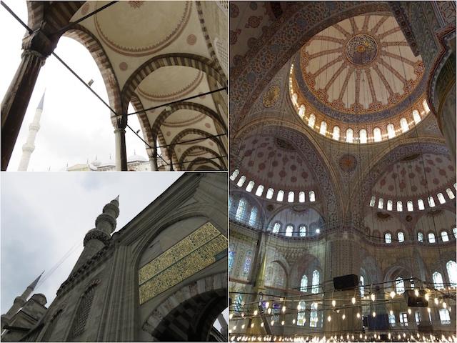 その巨大さと細かい装飾に圧倒されるブルーモスクの内部。